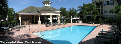 Enjoy a relaxing weekend afternoon soaking up the Florida sun by the pool outside your unit at Serenade on Palmer Ranch in Sarasota.